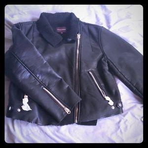 Leather and Fleece Moto Jacket